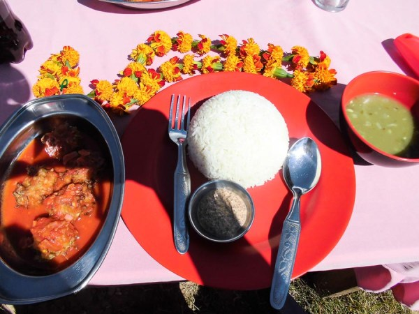 Nepalese outdoor lunch