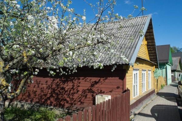 Yellow wooden house in Trakai