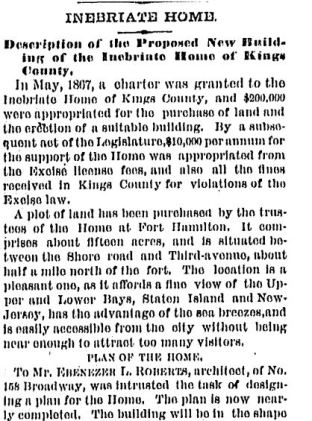 """""""Inebriate Home: Description of the Proposed New Building"""" New york Times August 23, 1869"""
