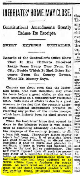 """Inebriates' Home May Close"" Brooklyn Daily Eagle May 26, 1895"