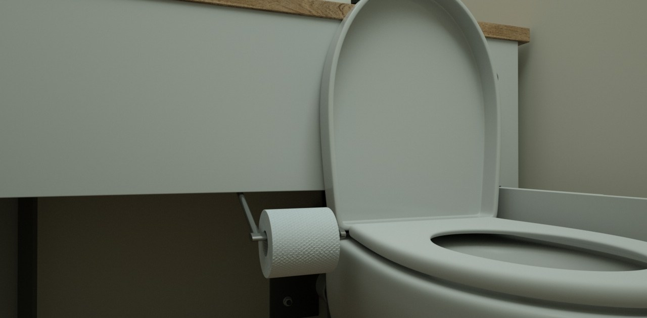 hidealoo toilet roll holder extended into place