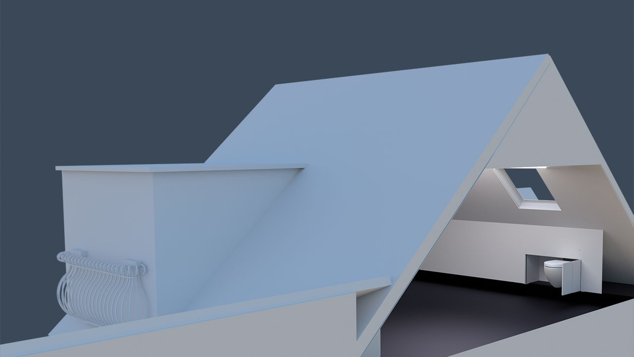 installation example of a hidealoo toilet in the eaves of a house