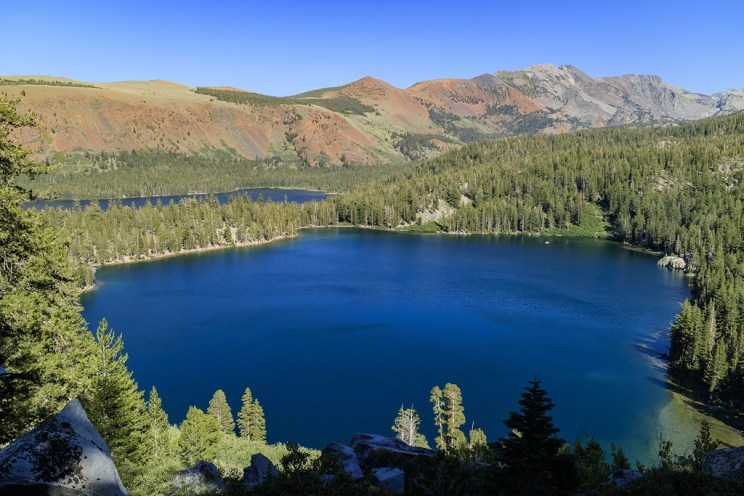 Aerial view of Lake George and Lake Marry in Mammoth Lake