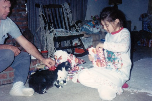 My step dad and I (and my cat Laverne) one Christmas morning.