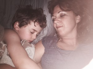 sam sleeping with mom
