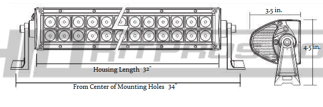 32 Inch 180 Watt CREE LED Off Road Light Bar Dimensions