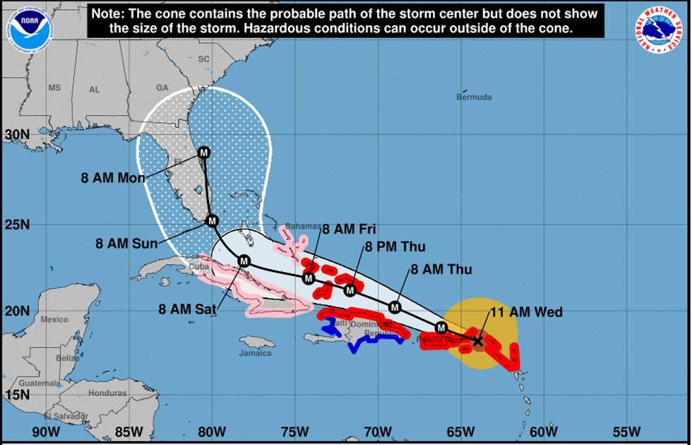 Resultado de imagen para trayectoria de huracan irma