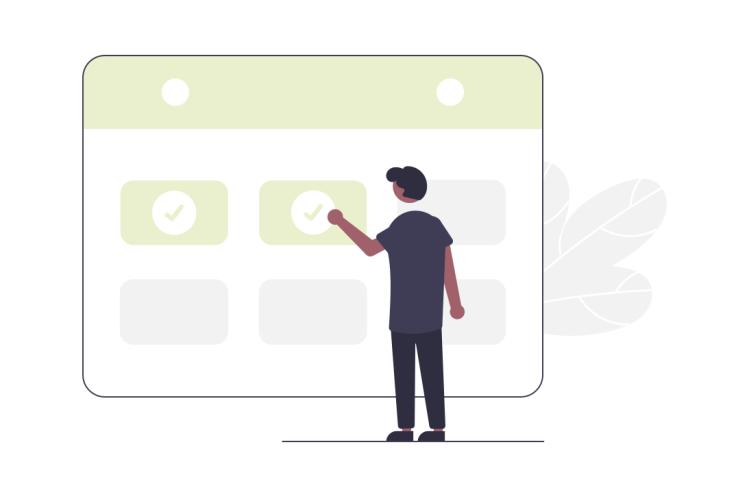 Illustration einer Person, die einen Termin in einem Kalender einträgt.