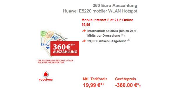 Vodafone günstige LTE Datenflat mit 4.5GB und Huawei WLan Hotspot