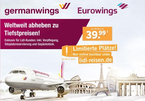 günstige Germanwings Flüge bei Lidl-Reisen.de buchen