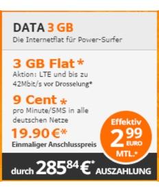 günstige Datenfalt mit 3GB unter 3 Euro im Monat