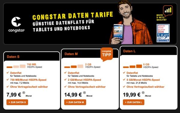 günstiger Datentarif von Congstar in Telekom Netz
