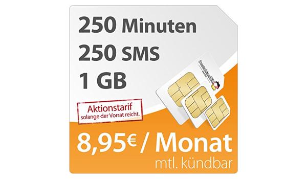günstiger Smartphone Tarif mit 1GB Datenvolumen 250 Minuten und 250 SMS