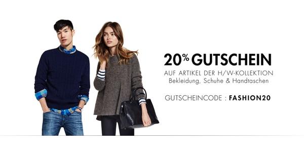 Amazon Gutschein 20% Rabatt auf Bekleidung