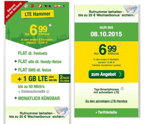 LTE Smartphone Tarif für unter 10 Euro im Monat