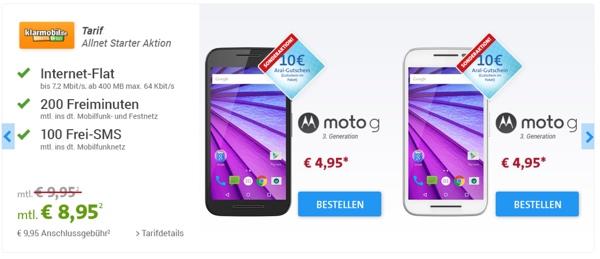 günstiger Handyvertrag mit Smartphone Motorola moto g 3
