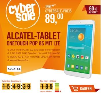 Alcatel onetouch® Pop 8S 8 Zoll Tablet mit LTE 8GB Speicher
