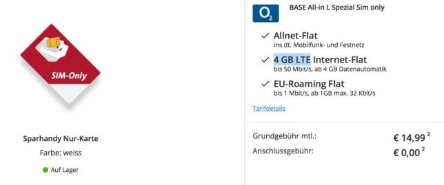 BASE Allnet-Falt + EU-Flat und 4 GB LTE Internet günstig nur 15 Euro