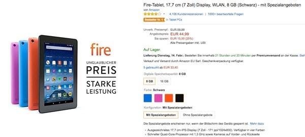 Amazon Fire Tablet unter 50 Euro günstiger