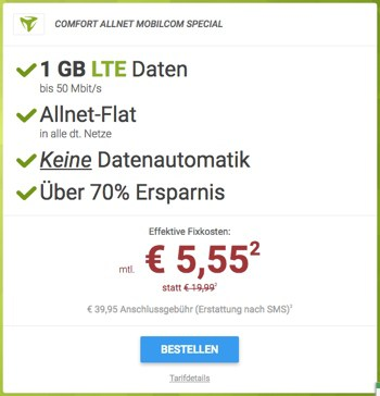 sparhandy günstiger Handytarif unter 6 Euro Allnet Flat