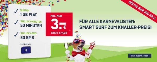 1 GB LTE unf Freiminuten für 3 Euro im Monat