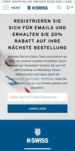 K-Swiss Gutschein Newsletter anmelden