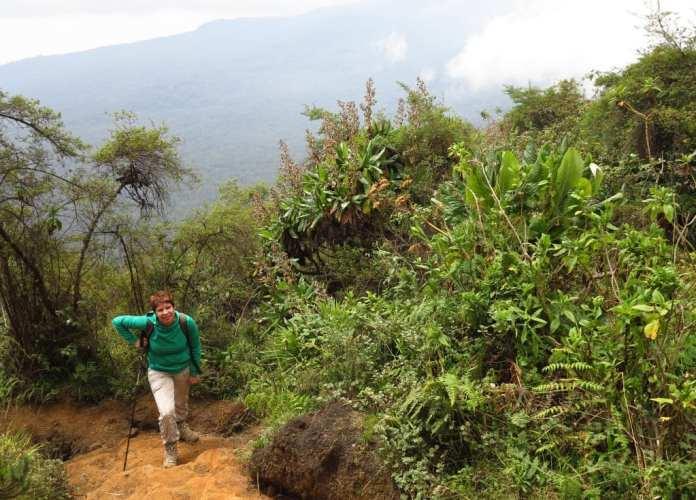 Wanderin beim Aufstieg auf den Mount Bisoke in Ruanda