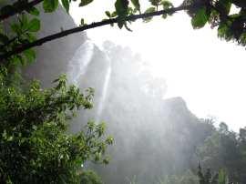 Wasserfall in grüner Landschaft