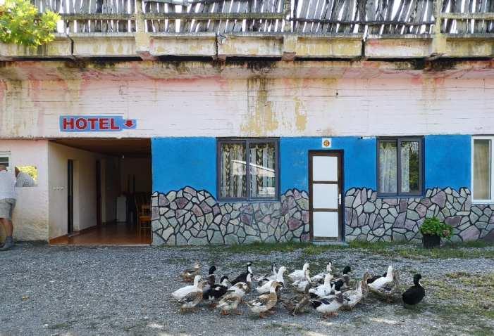 Einfaches Hotel mit Enten davor