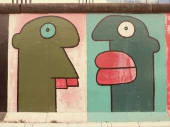 Zwei Gesichter gemalt