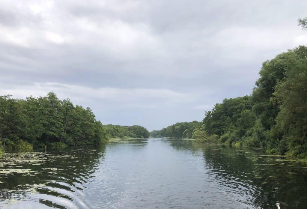 Fluss mit viel Grün rechts und links