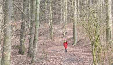 Frau mit rotem Anorak im Wald