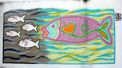 Bunter Fischschwarm Wandgemälde