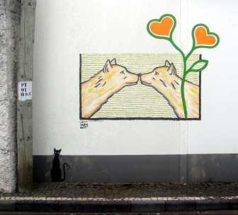 Küssende Hunde Mural