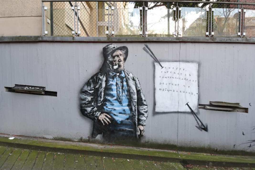 Coffee, cupcake and contemporary art destroy my neighbourhood Mural