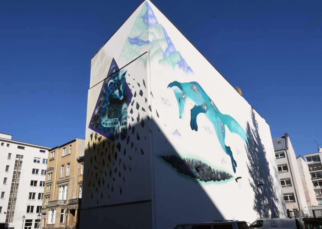 Fuchs-Mural an zwei Wänden