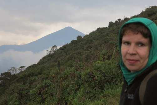 Frau im Vordergrund, dahinter tropischer Vulkan