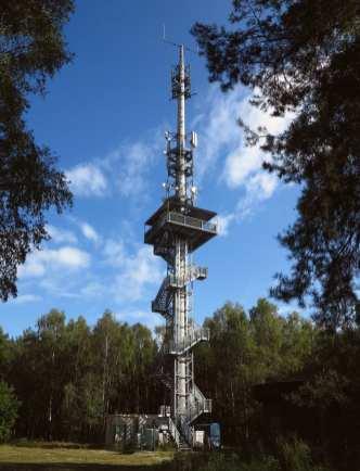 Stählerner Aussichtsturm in einem Wald