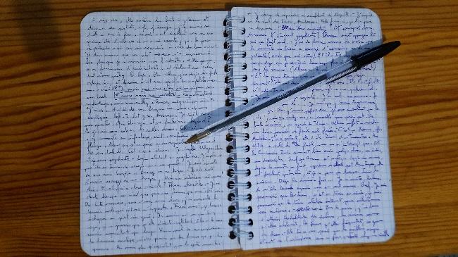 Carnet entièrement écrit à la main