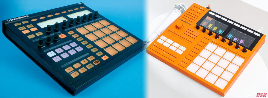 Incredibly, it's 10 years since we first reviewed NI's Maschine hybrid software/hardware production workstation. Above left is the original Maschine Mark 1, and on the right is the new bright-orange limited-edition Maschine NI have announced to celebrate.