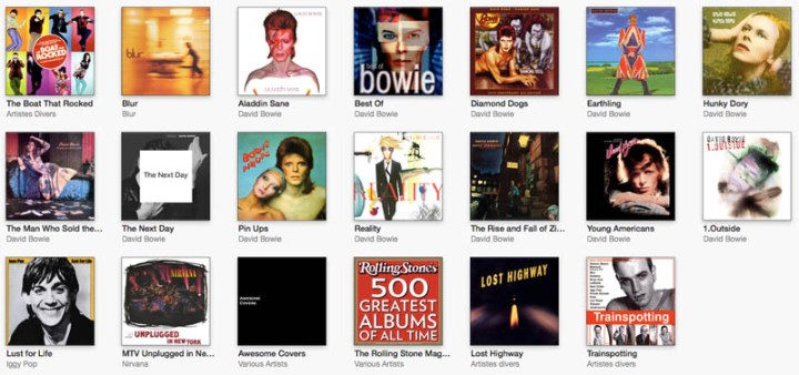 Pochette d'album - exemple david bowie