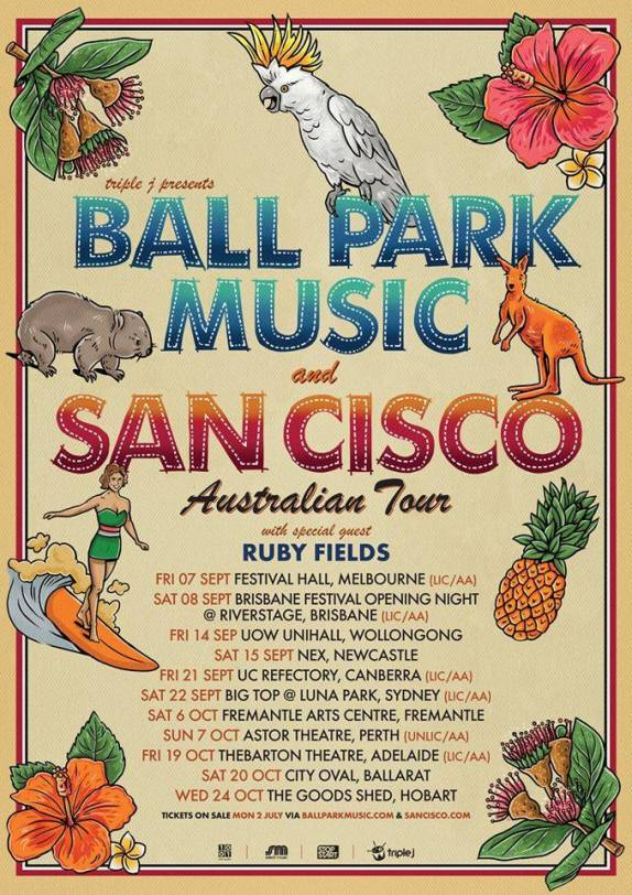 Ball Park Music & San Cisco Tour Poster
