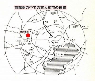 首都圏の中での東大和市の位置