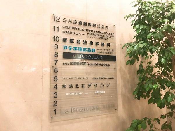 ビルの8階:ゴリラクリニック 銀座院