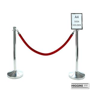 Chrome Post Sign Holder Red Rope