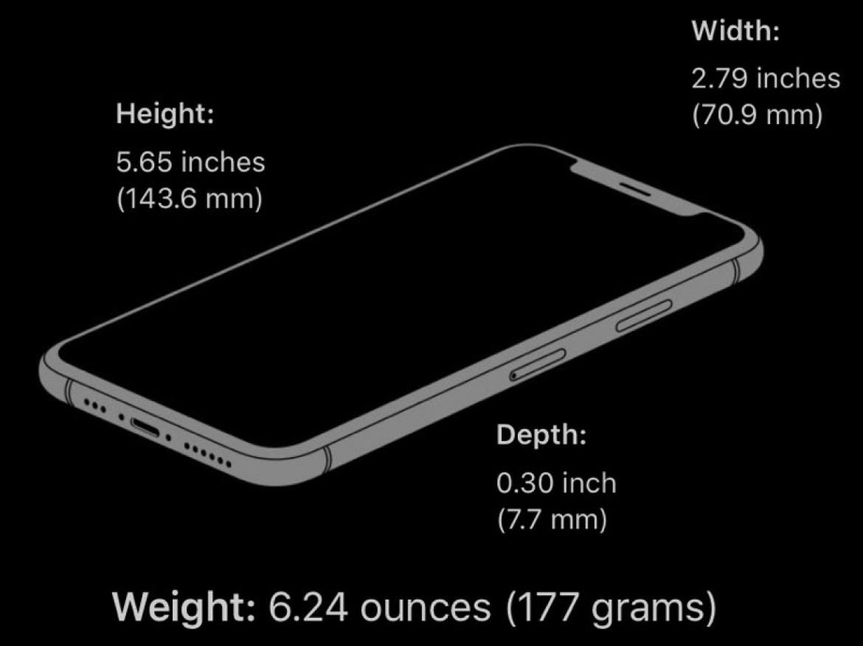 taille de l'iphone xs
