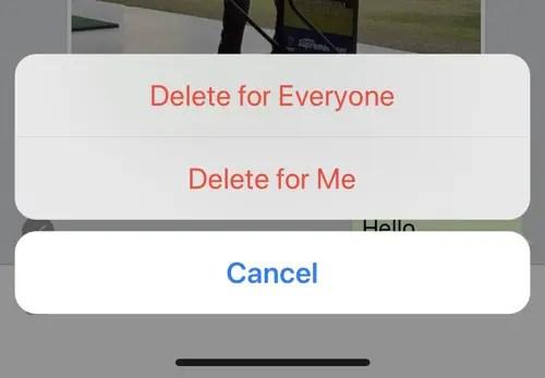 WhatsApp message delete