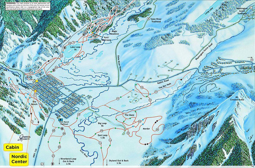 Map Crested Resort Butte Ski