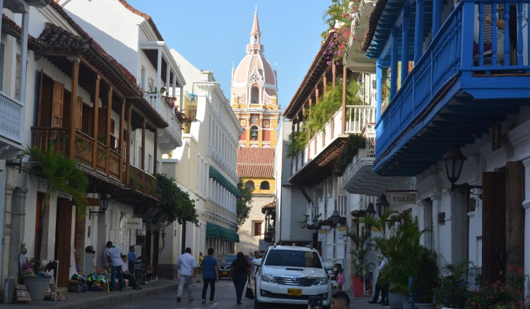 Christmas In Colombia South America.Cartagena De Indias Getting Ready For Christmas South