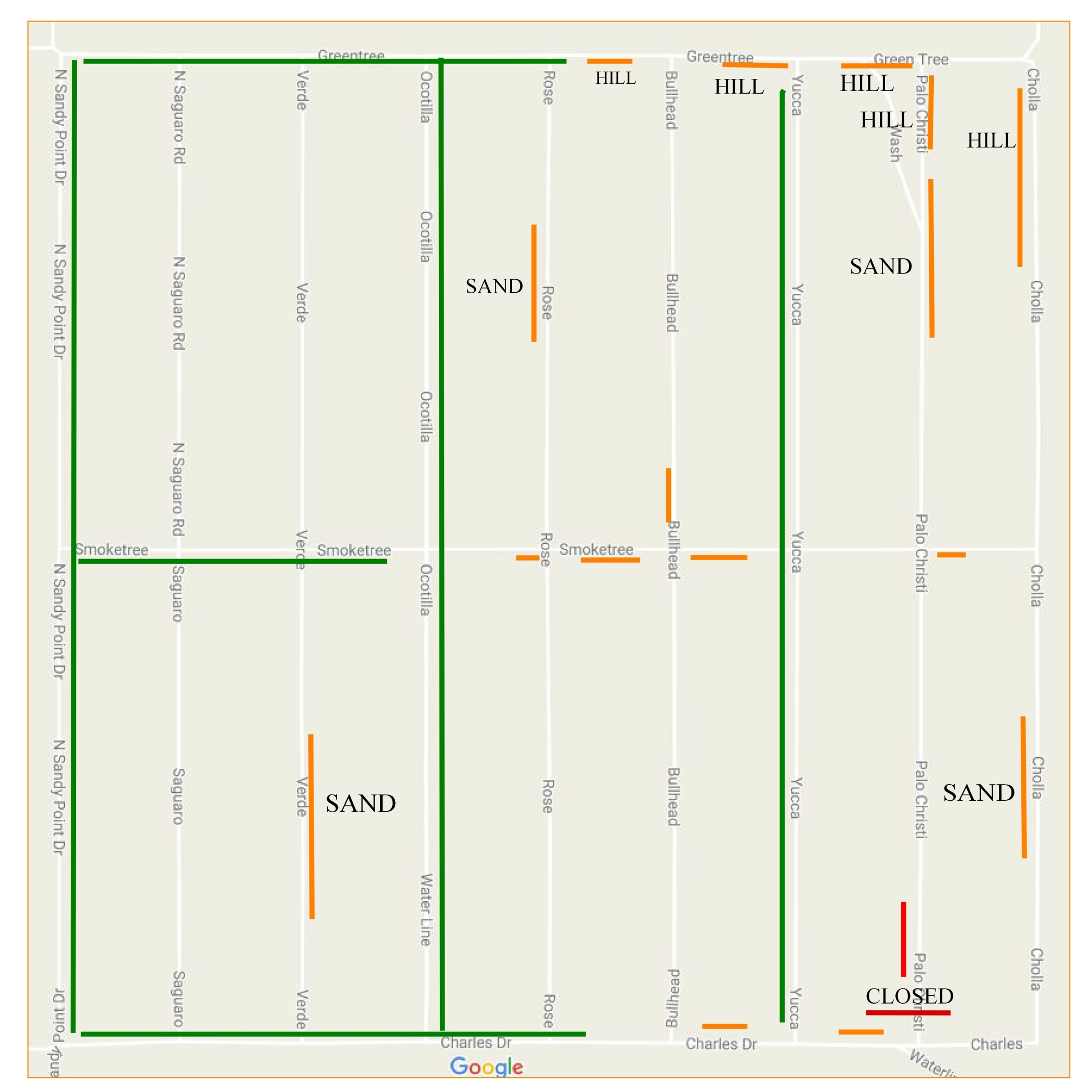 Meadview Unit 7 map with road conditions – Road Conditions Map